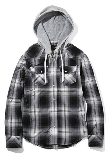 HOODED WESTERN SHIRTS_OMBRE CHECK