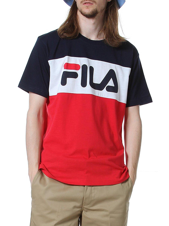 FILA ロゴプリント トリコ切り替え クルーネック 半袖 Tシャツ
