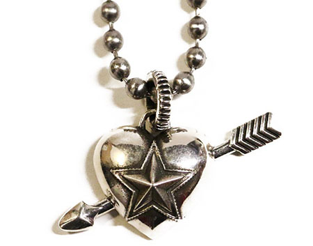 Heart With Sheriff Star & Arrow Pendant
