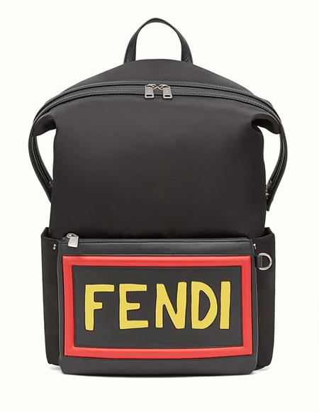 FENDI/ナイロン&レザーロゴバックパック