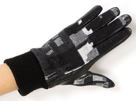 ジャガードニット×レザー手袋