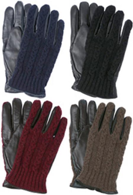 ケーブル編みニット×シープスキンレザー手袋