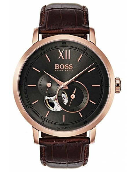 Black Signature Automatic Brown Leather Watch