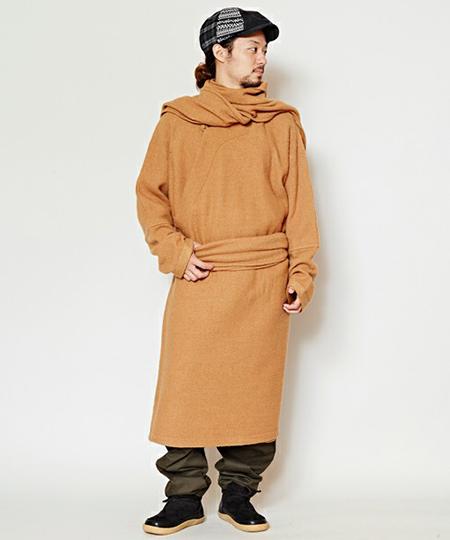 ウール100%縮絨ニットコート チベタンマント