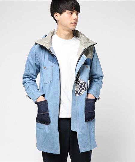 デニムパッチワークMEN'Sジャケット
