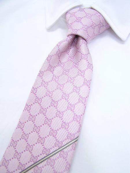 ピンク GGパターンラインネクタイ