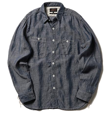 リネンシャンブレーワークシャツ