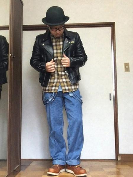 ライダース×イエローチェックシャツ×ワイドデニム