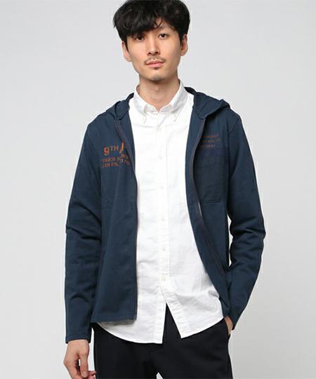 マテリアルミックス フード付Tシャツ