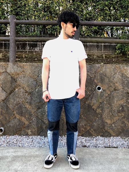 デニム×白Tシャツ×ヴァンズスニーカー