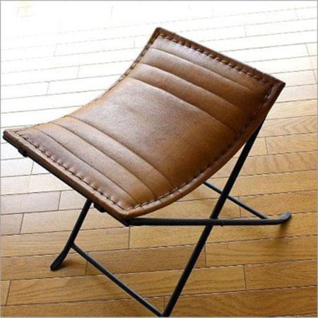 レザースツール 椅子 アイアンと本革の折りたたみスツール