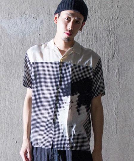 Nehanne/写楽バックフレアオープンカラーシャツ