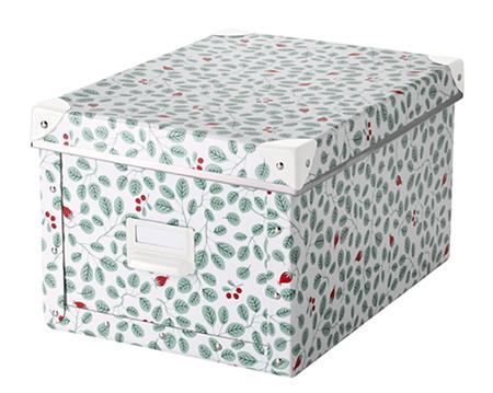 FJÄLLA収納ボックス ふた付き ホワイト グリーン