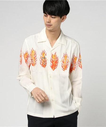 wacko maria/'FIRE GIRL' オープンカラーシャツ
