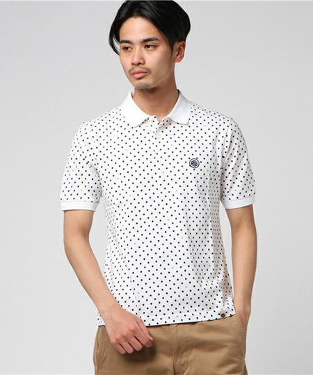 PRETTY GREEN/白×ネイビードットポロシャツ