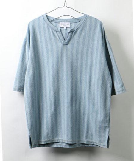 インディゴストライプスキッパーTシャツ