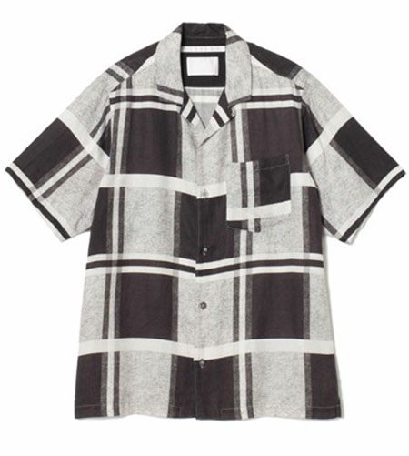 WHITE MOUNTAINEERING/LARGE CHECK PRINTED OPEN COLLAR SHIRT