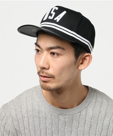 Black USA Stripe Hat