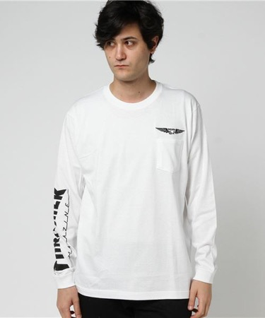 WING SKULL FLAG POCKET L/S TEE