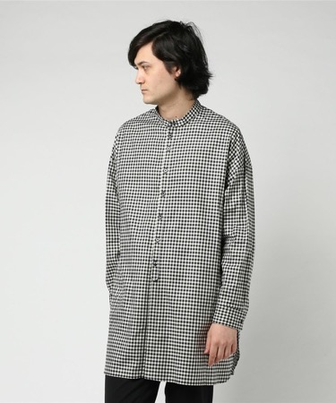 DIET BUTCHER SLIM SKIN/Stand collar check long shirt