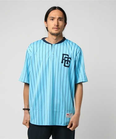 STRIPED BASEBALL JERSEY サックスブルー