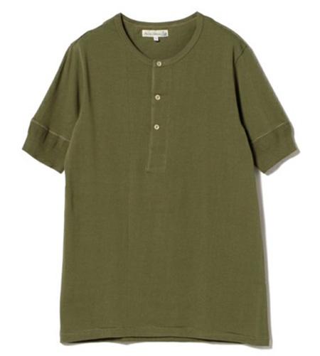 Merz b.Schwanen/ショートスリーブ ヘンリーネック Tシャツ