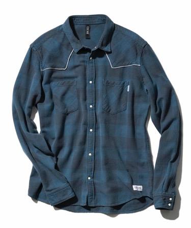 FACTOTUM JEANS/インディゴブロックチェックウエスタンシャツ