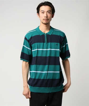 STRIPED KNIT POLO グリーン