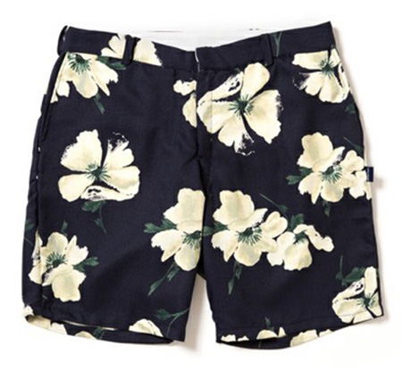 Navy Flower Short Pants