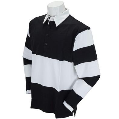 長袖シャツ・ポロシャツ 長袖ラガーポロシャツ 黒×白