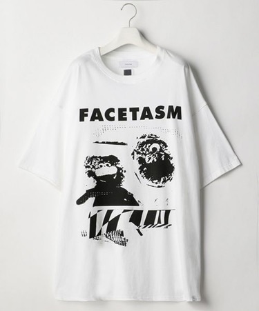 COLLAGE FACETASM BIG TEE ロゴ 白