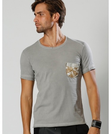 leather camo pocket T