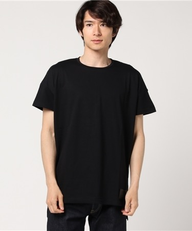 Leather patch loose T-shirt