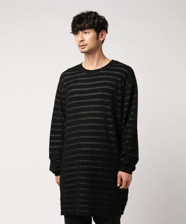 Border knit long pullover
