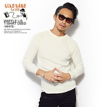 GLAD HAND WAFFLE L/S T-SHIRT USED -WHITE-