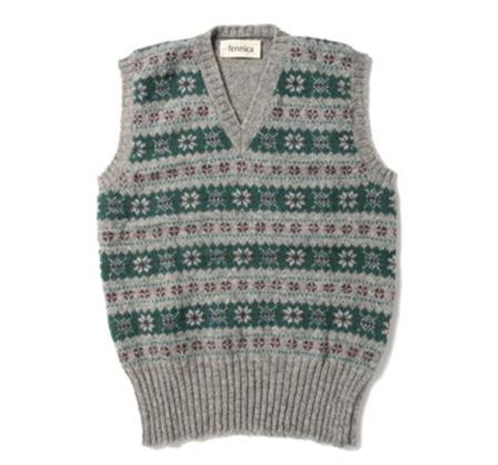 Jamieson's Knitwear × fennica/Fair isle long rib V-ves