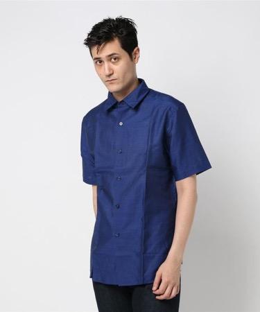 コットンリネン半袖シャツ