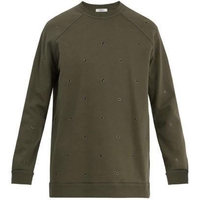 Eyelet-embellished raglan sweatshirt