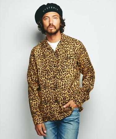 SKULL LEOPARD総柄 長袖オープンカラーシャツ