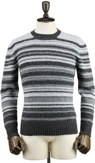 ボーダー柄ウールニットクルーネックセーター