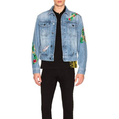 VERSACE/Printed Denim Jacket