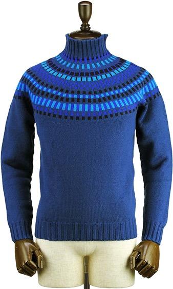 フェアファイル柄ウールニットモックネックセーター