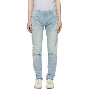 Blue Six-Pocket Vintage Distressed Jeans