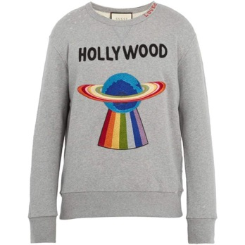 Spaceship-applique distressed cotton sweatshirt