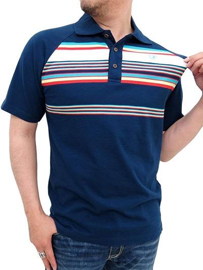 ラグランパネルボーダーポロシャツ