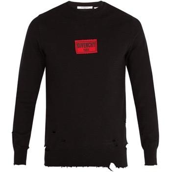 Distressed cotton-blend sweatshirt