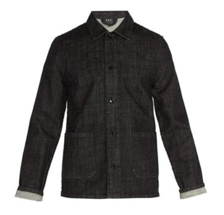 Point-collar denim overshirt