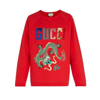 Dragon-applique cotton sweatshirt