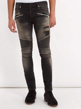 Mid-rise skinny biker jeans