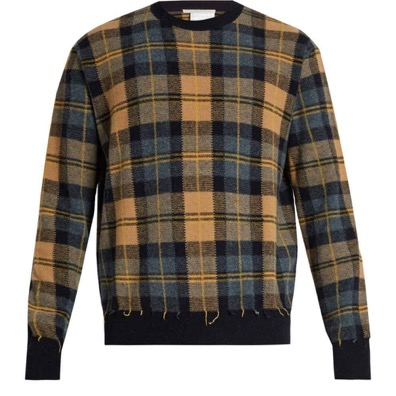 Crew-neck checked wool sweate